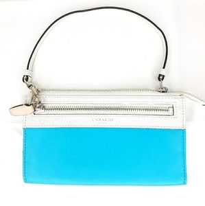 Coach Wristlet Wallet Handbag Clutch Bag Sky Blue